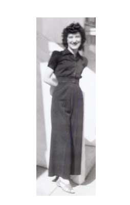 Mom, wide legged high, waisted pant and padded shoulders c. 1945?